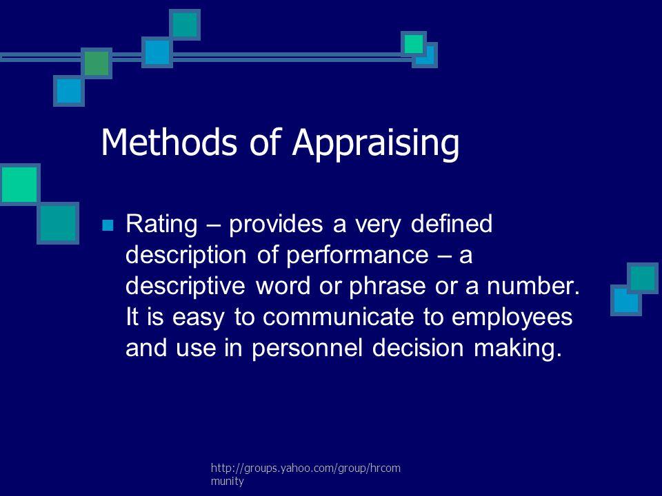 Methods of Appraising