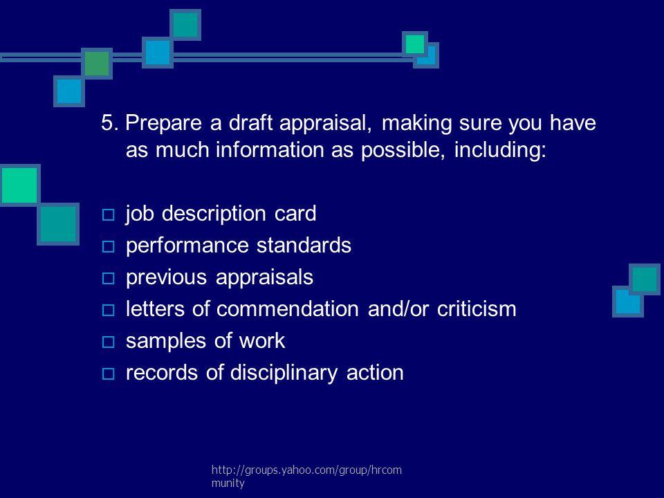 performance standards previous appraisals