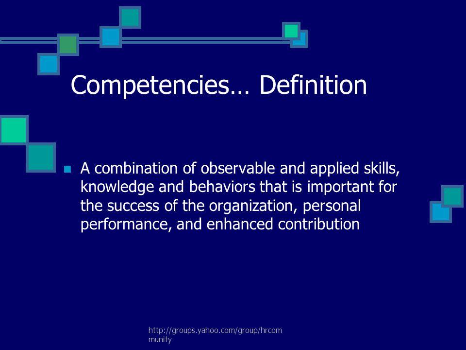 Competencies… Definition