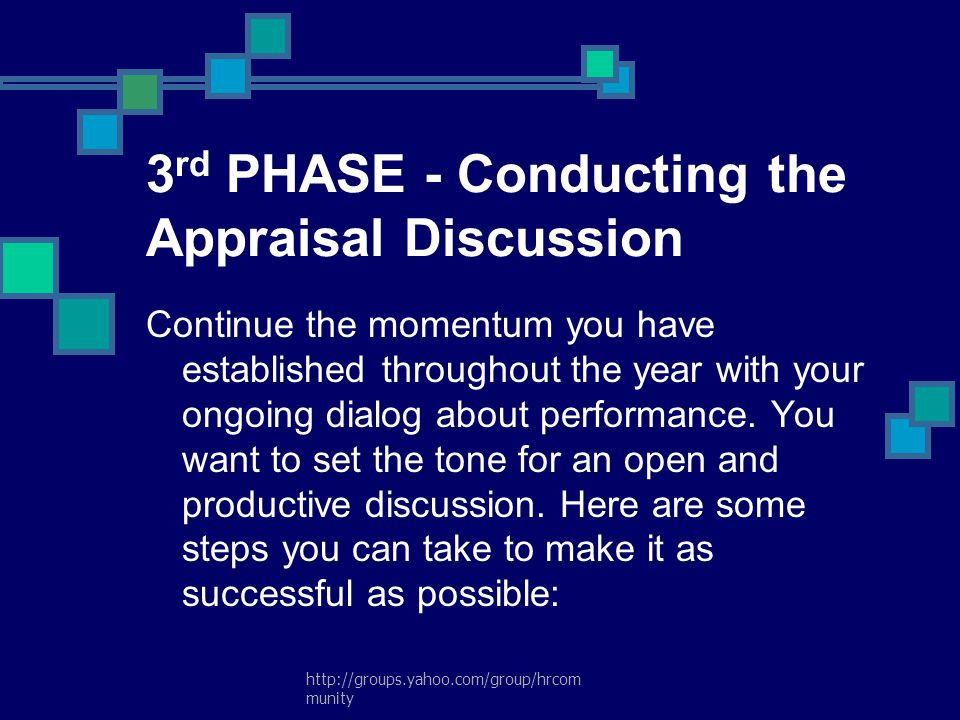 3rd PHASE - Conducting the Appraisal Discussion