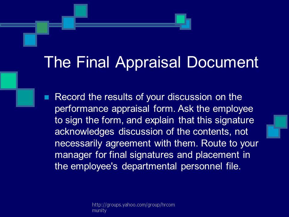 The Final Appraisal Document