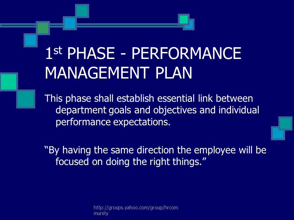 1st PHASE - PERFORMANCE MANAGEMENT PLAN