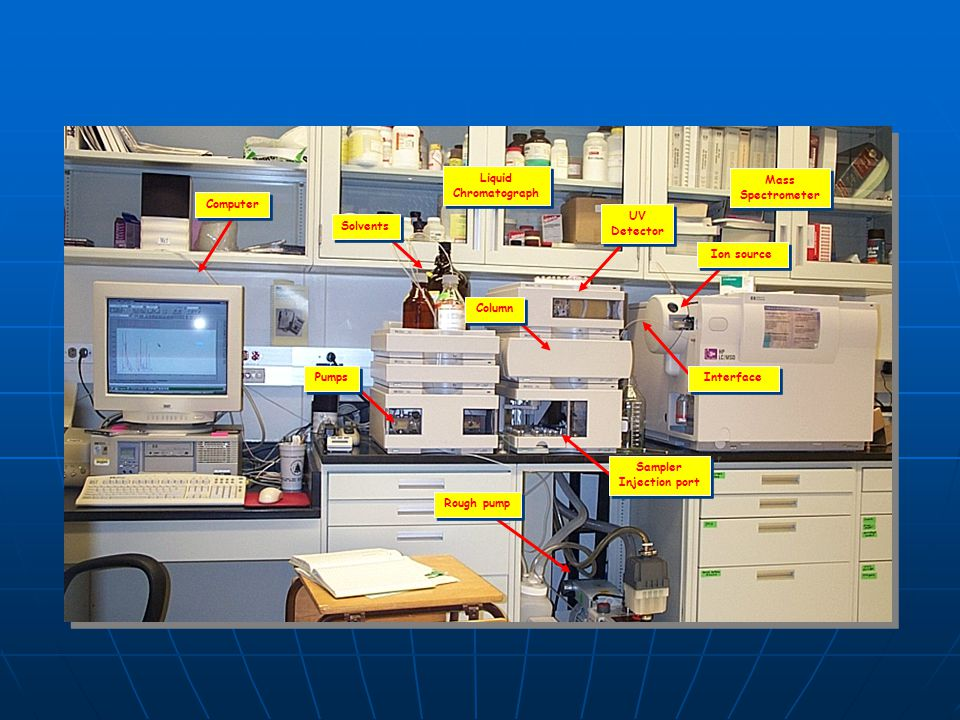 Mass Spectrometer. Liquid. Chromatograph. Rough pump. UV. Detector. Sampler. Injection port.