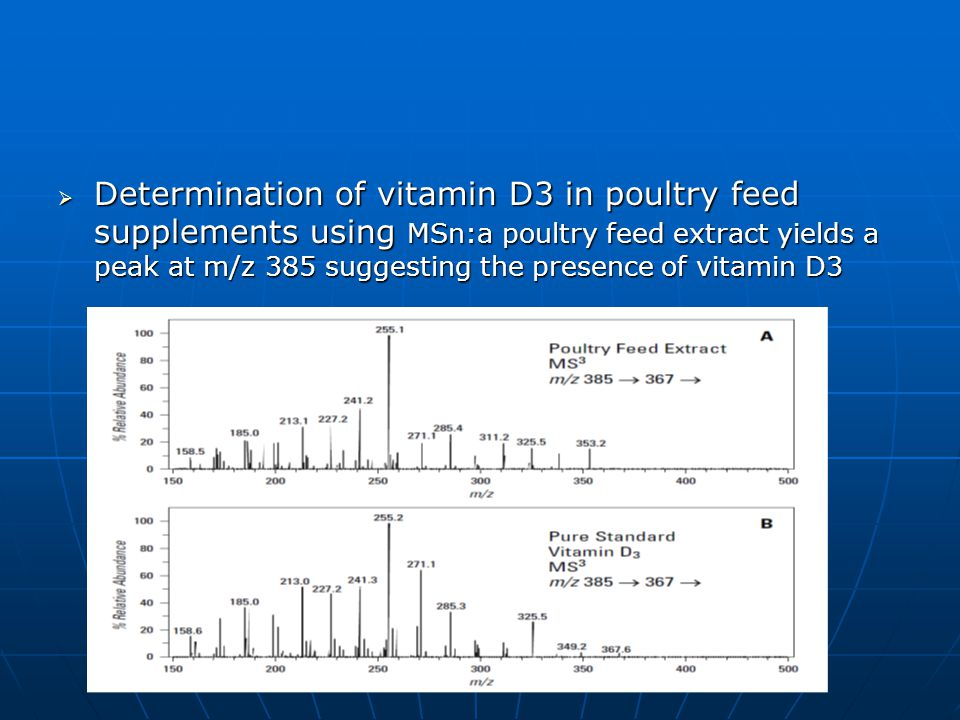 Determination of vitamin D3 in poultry feed supplements using MSn:a poultry feed extract yields a peak at m/z 385 suggesting the presence of vitamin D3