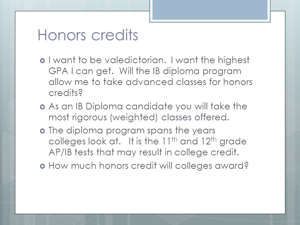 Honors credits