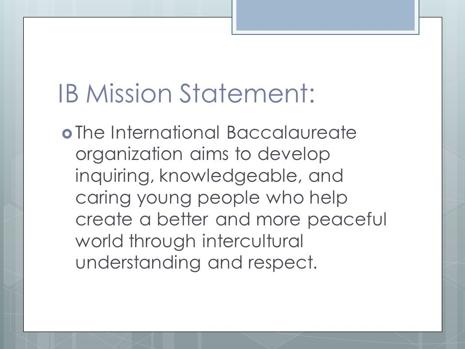 IB Mission Statement: