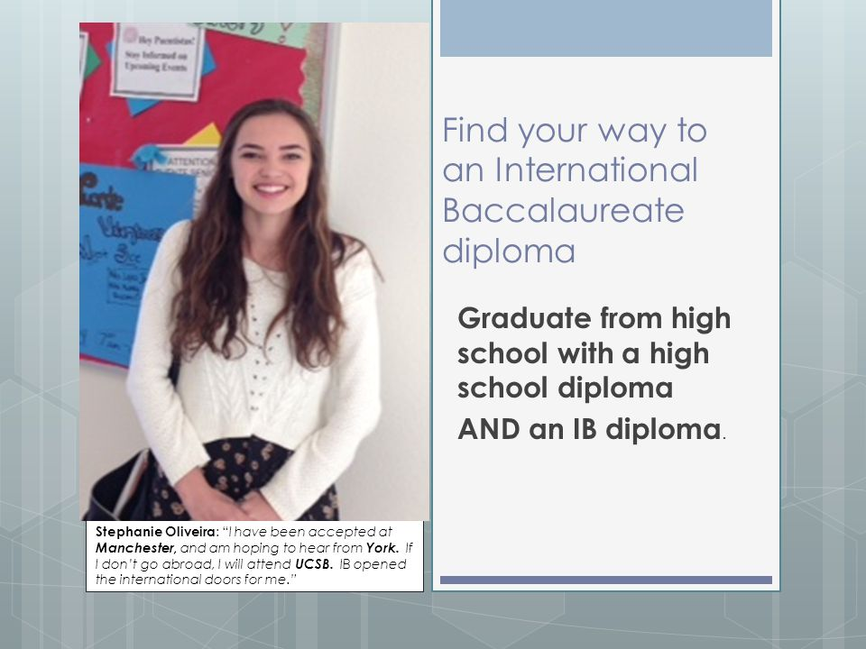Find your way to an International Baccalaureate diploma