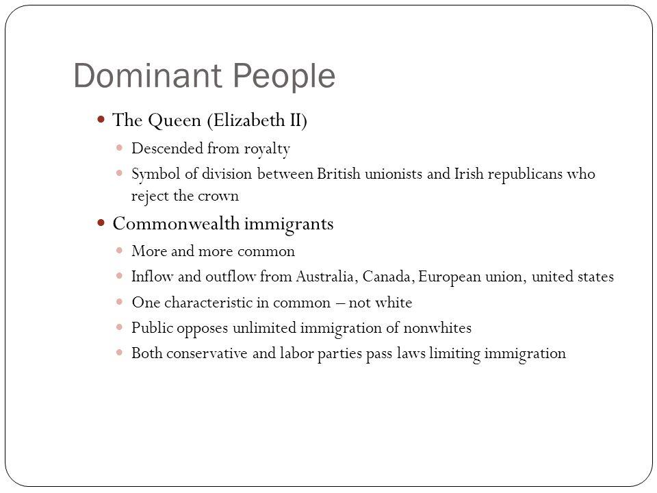 Dominant People The Queen (Elizabeth II) Commonwealth immigrants
