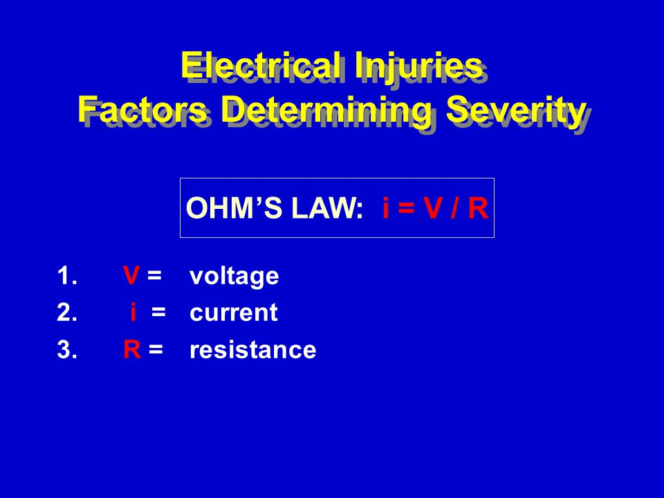 Electrical Injuries Factors Determining Severity