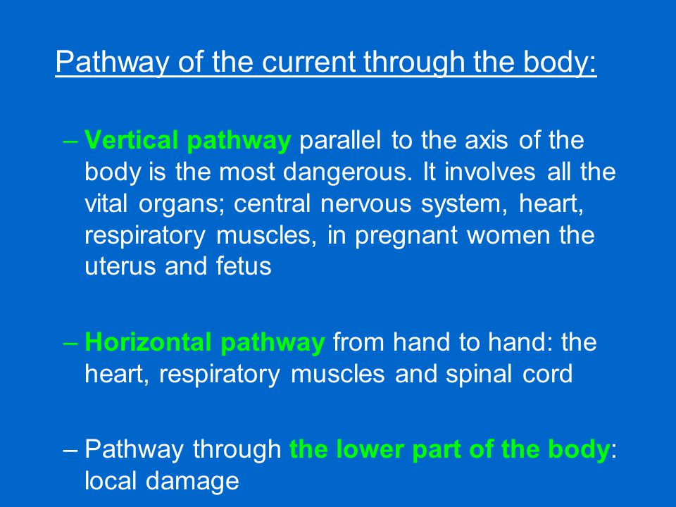 Pathway of the current through the body: