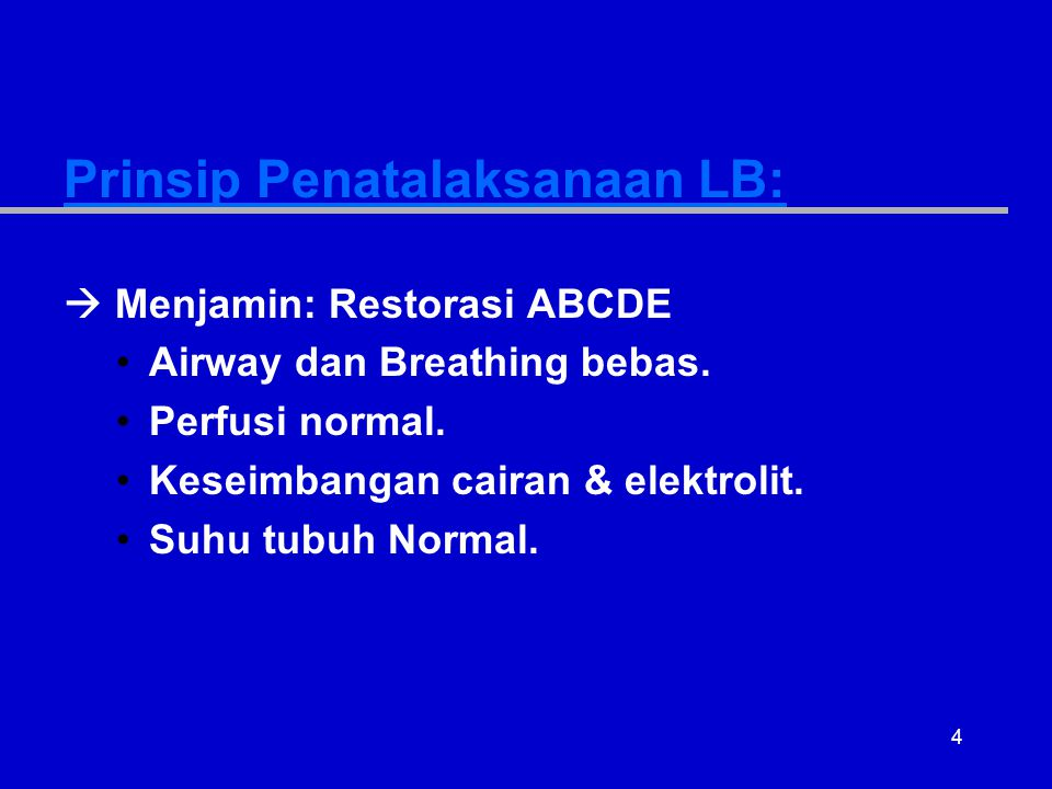 Prinsip Penatalaksanaan LB: