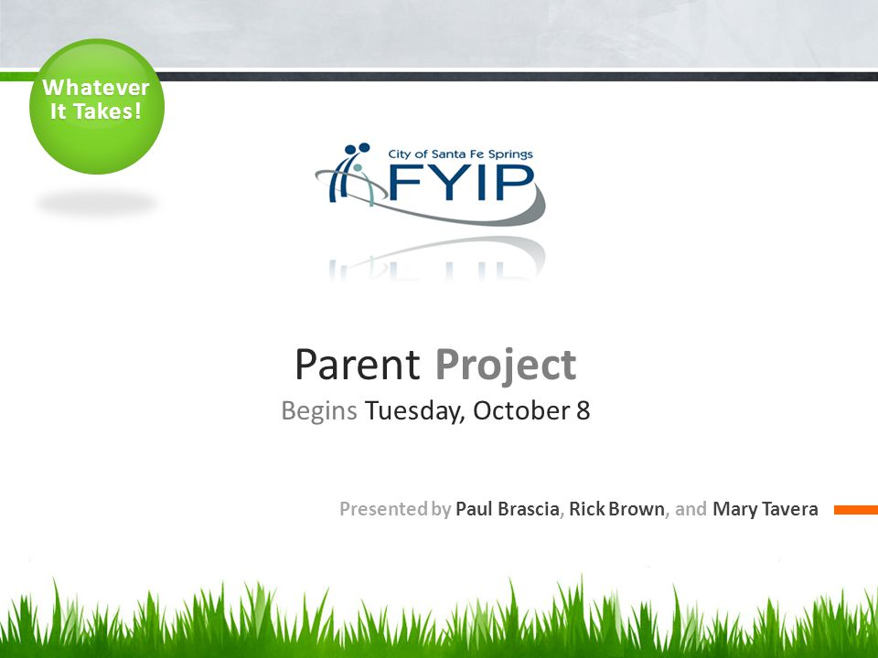 Parent Project Begins Tuesday, October 8