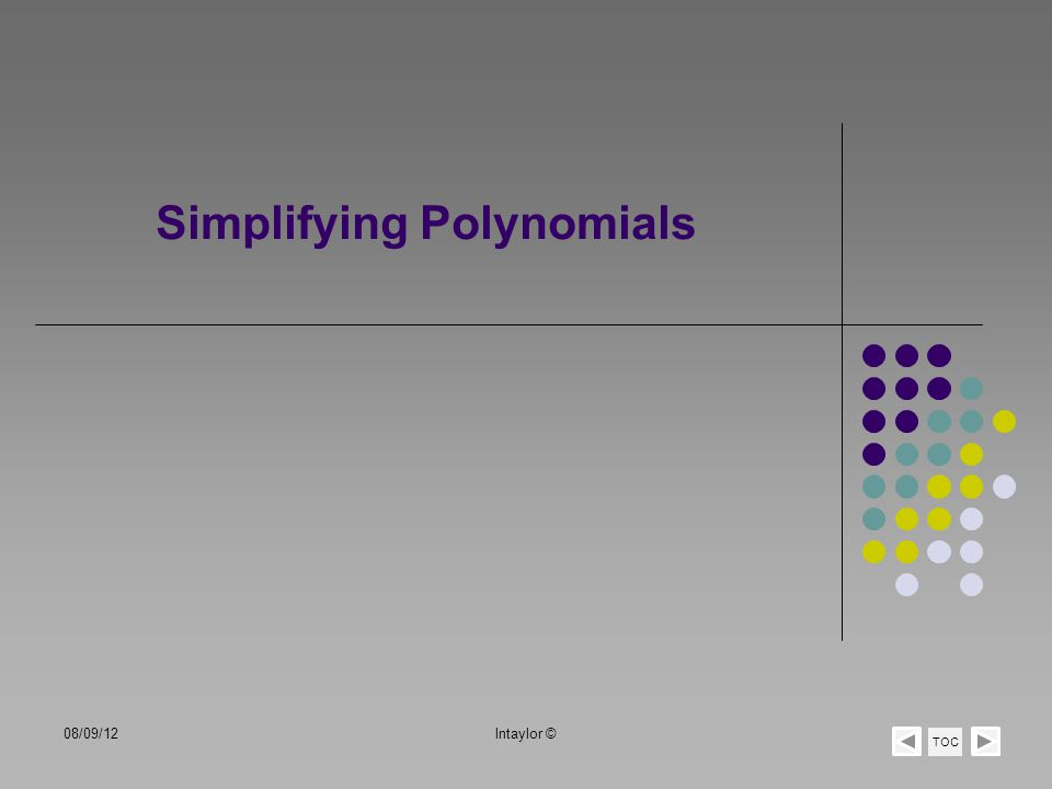 Simplifying Polynomials