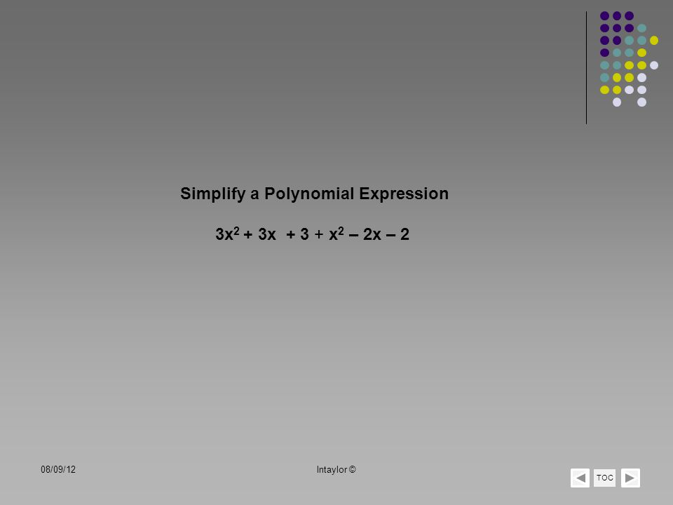 Simplify a Polynomial Expression