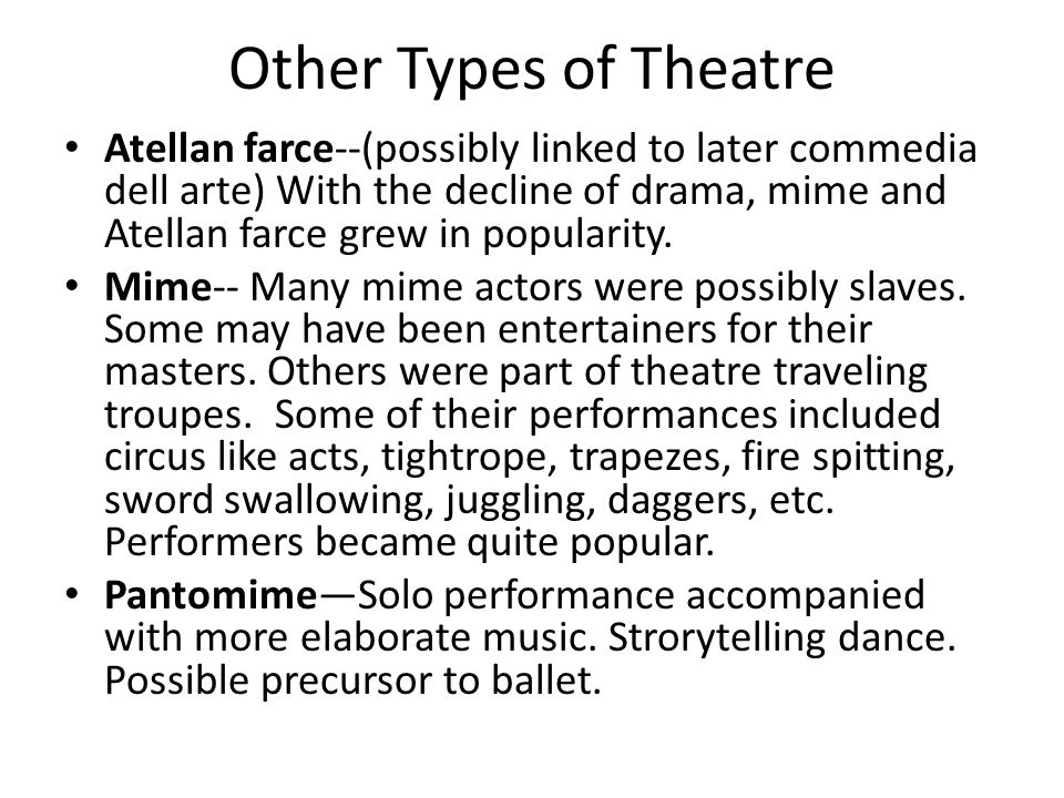 Other Types of Theatre