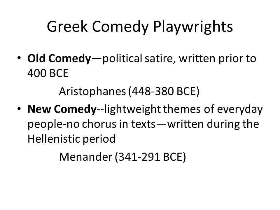 Greek Comedy Playwrights