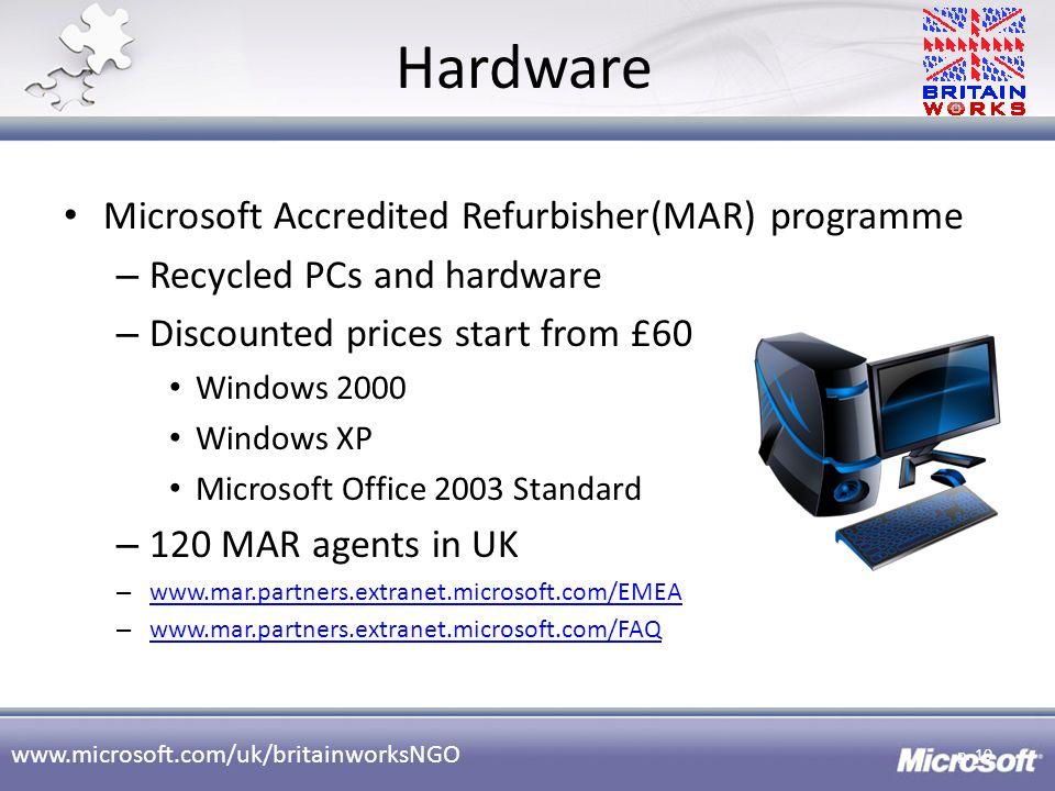 Hardware Microsoft Accredited Refurbisher(MAR) programme