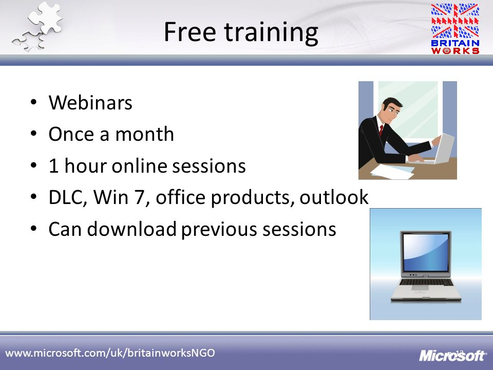 Free training Webinars Once a month 1 hour online sessions