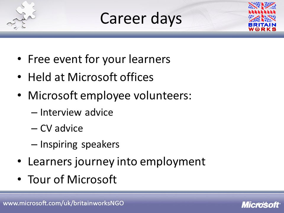 Career days Free event for your learners Held at Microsoft offices