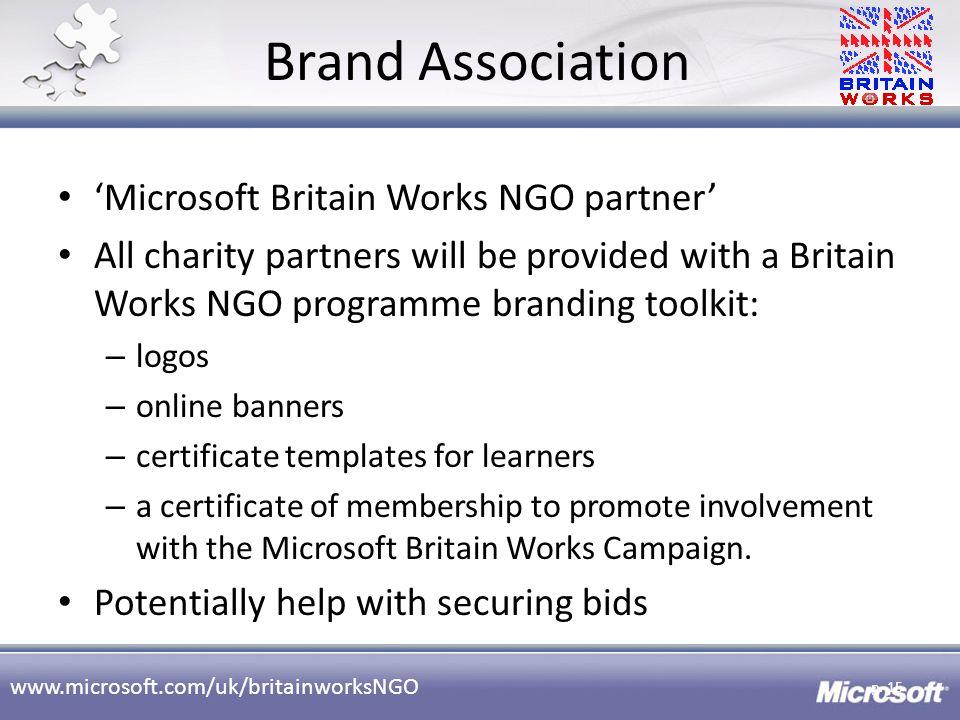Brand Association 'Microsoft Britain Works NGO partner'