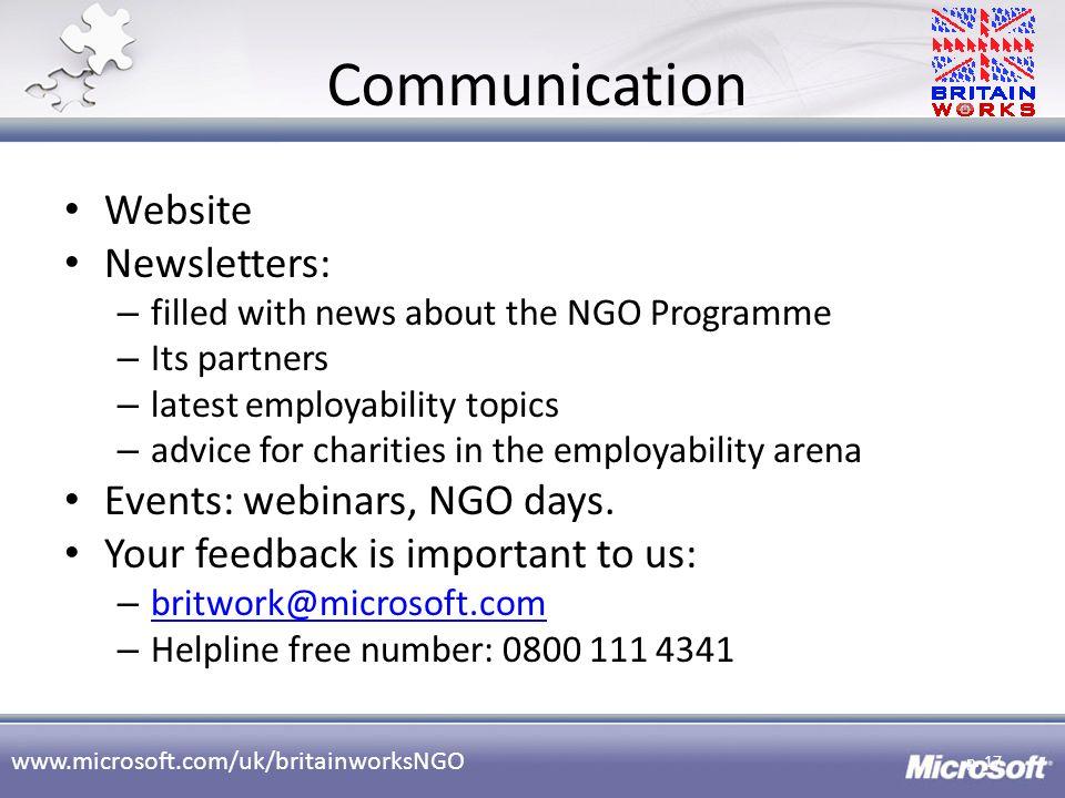 Communication Website Newsletters: Events: webinars, NGO days.