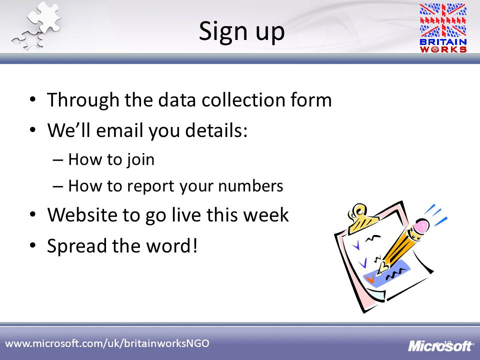 Sign up Through the data collection form We'll email you details: