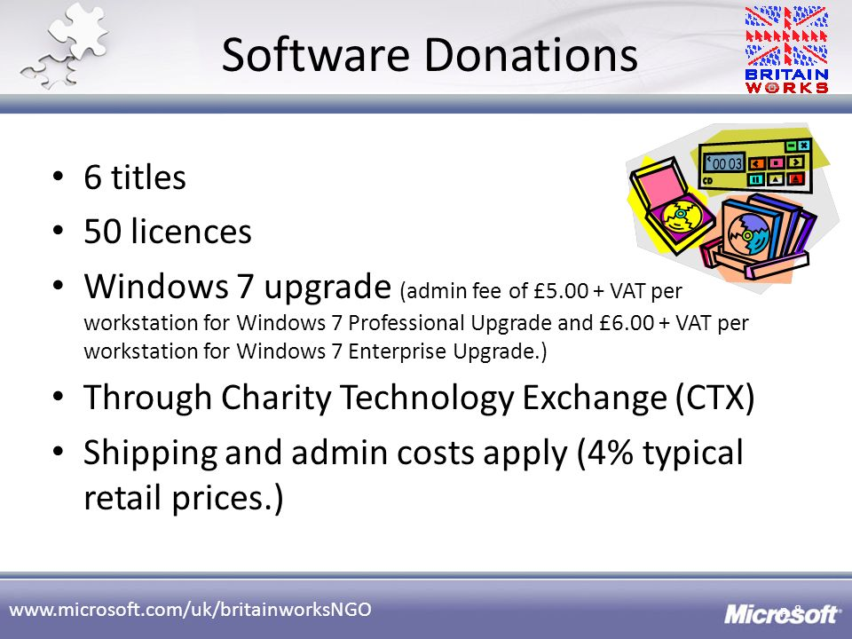 Software Donations 6 titles 50 licences
