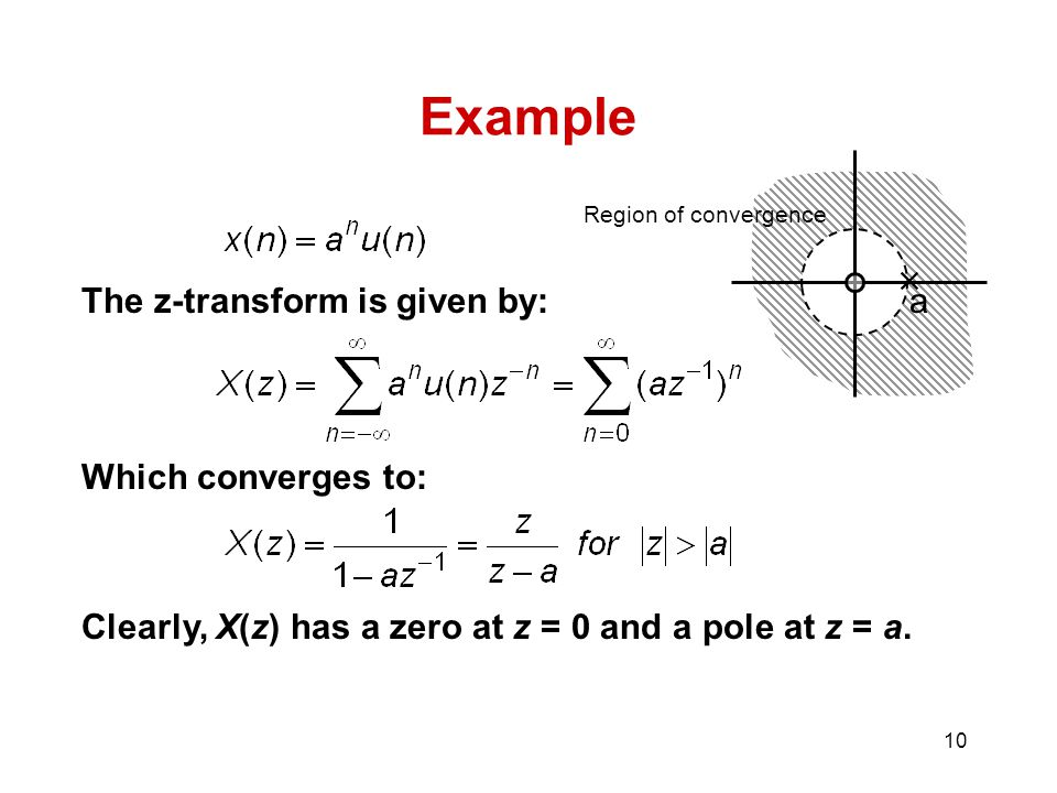 Example  The z-transform is given by: a Which converges to: