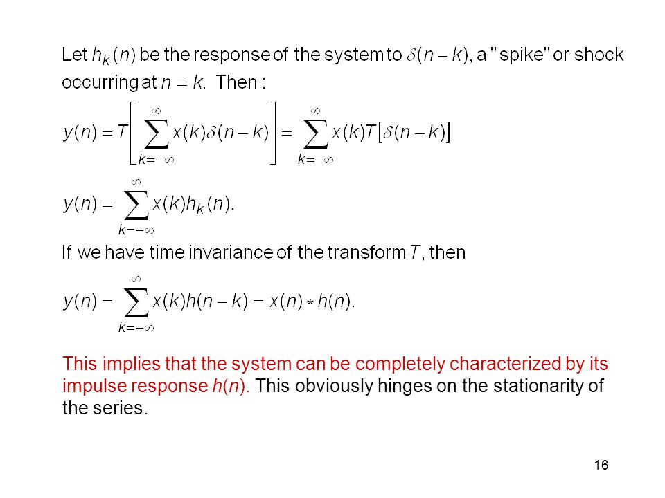 This implies that the system can be completely characterized by its impulse response h(n).