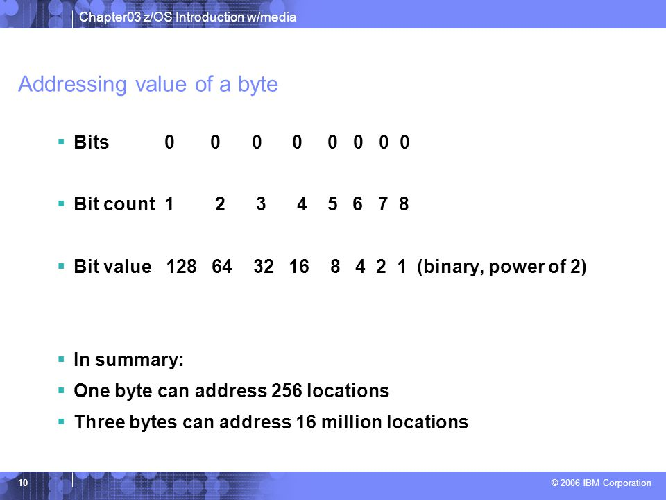 Addressing value of a byte
