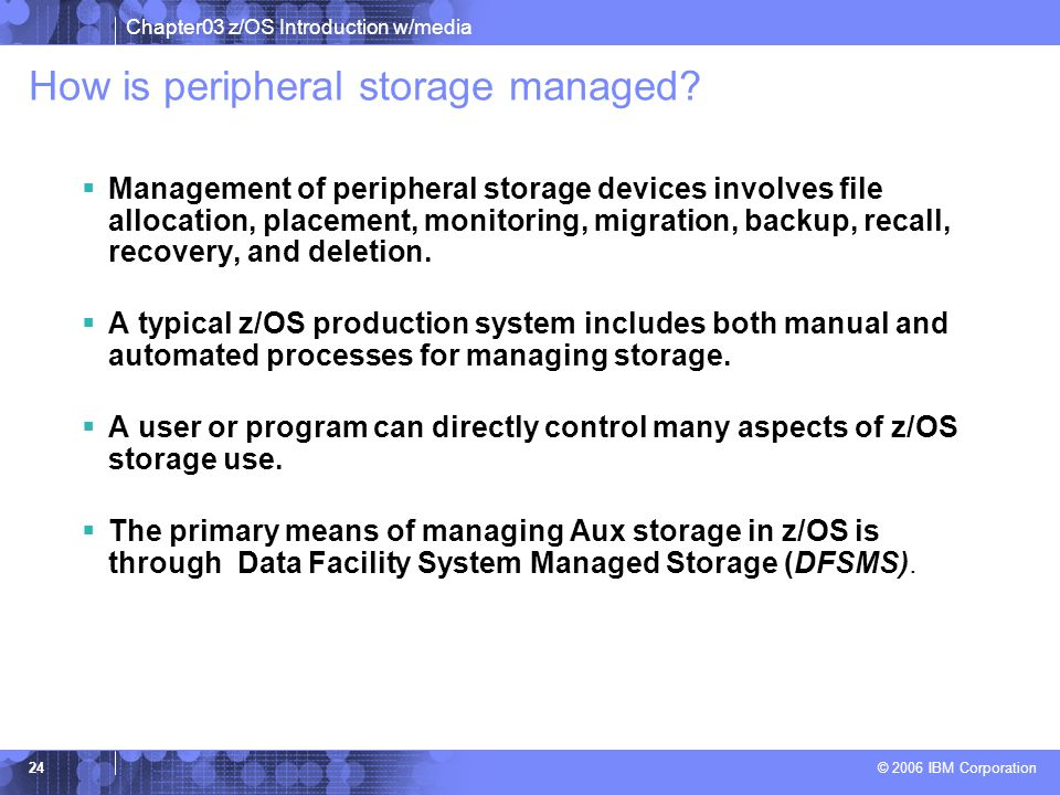 How is peripheral storage managed