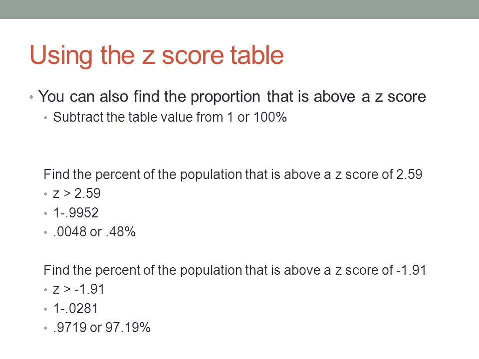 Using the z score table You can also find the proportion that is above a z score. Subtract the table value from 1 or 100%