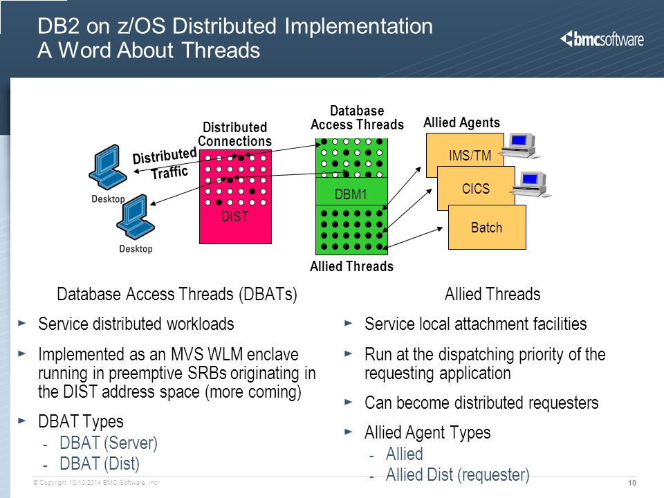 DB2 on z/OS Distributed Implementation A Word About Threads