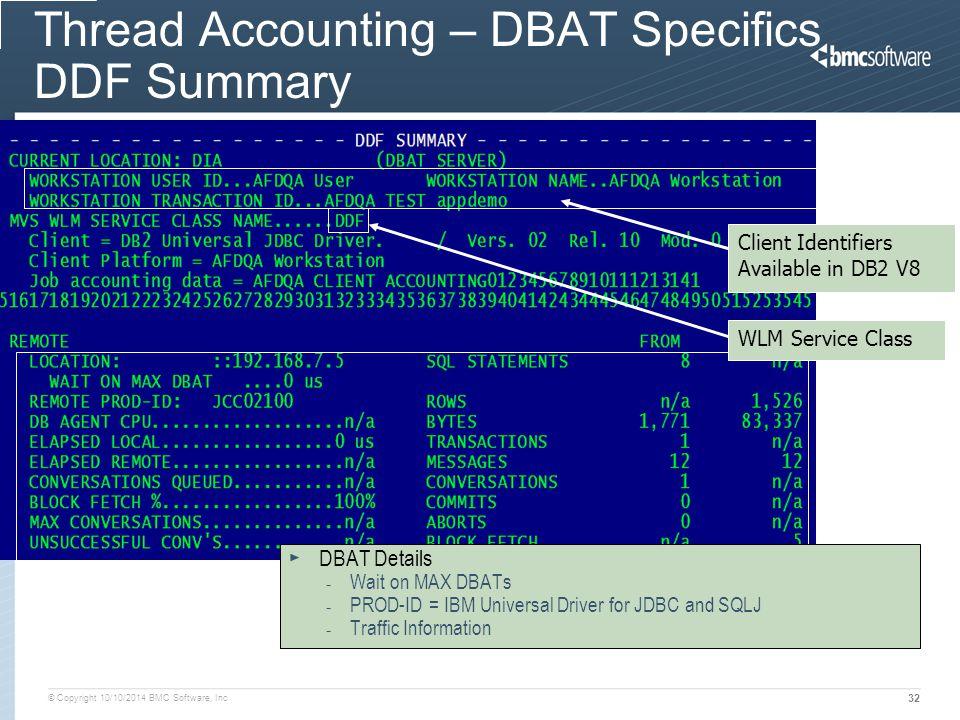 Thread Accounting – DBAT Specifics DDF Summary