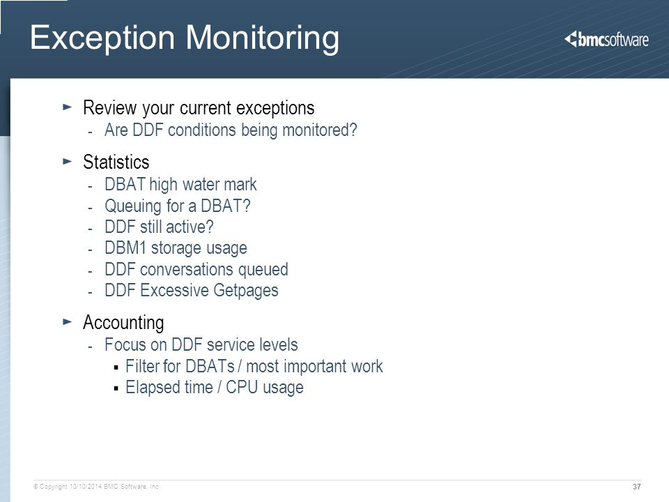Exception Monitoring Review your current exceptions Statistics