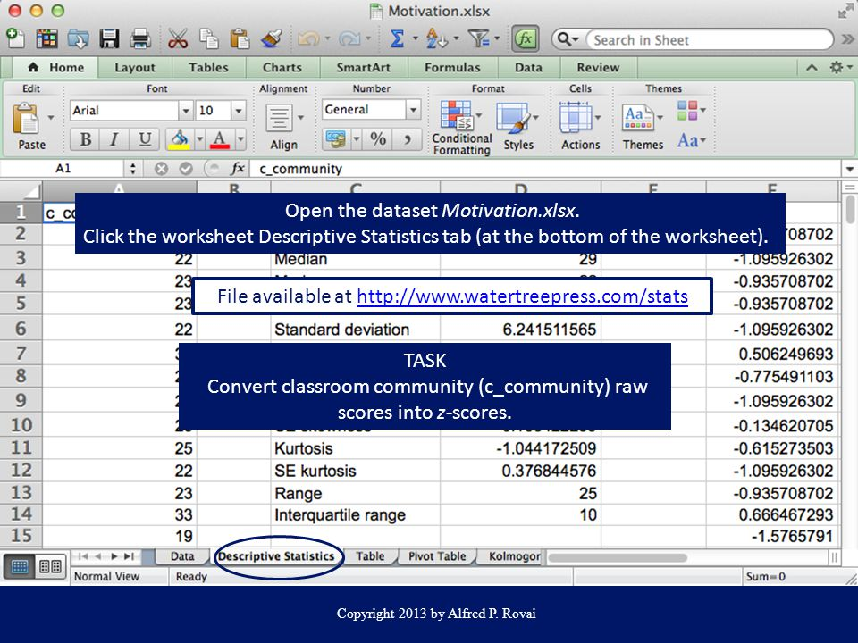 Open the dataset Motivation.xlsx.