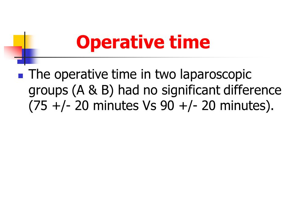 Operative time The operative time in two laparoscopic groups (A & B) had no significant difference (75 +/- 20 minutes Vs 90 +/- 20 minutes).