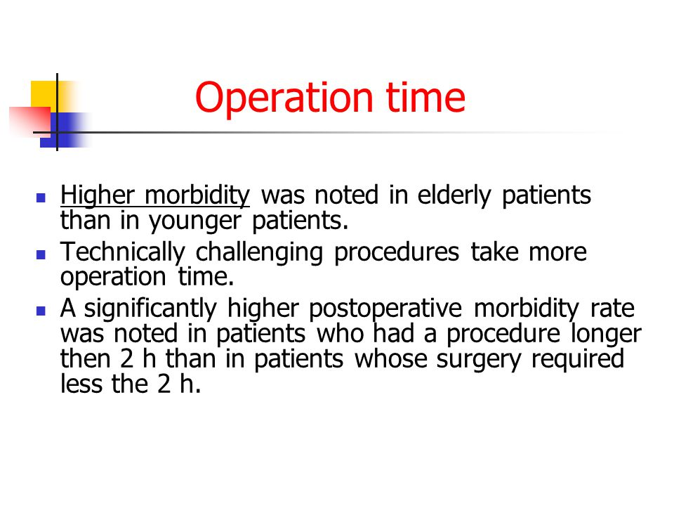 Operation time Higher morbidity was noted in elderly patients than in younger patients. Technically challenging procedures take more operation time.