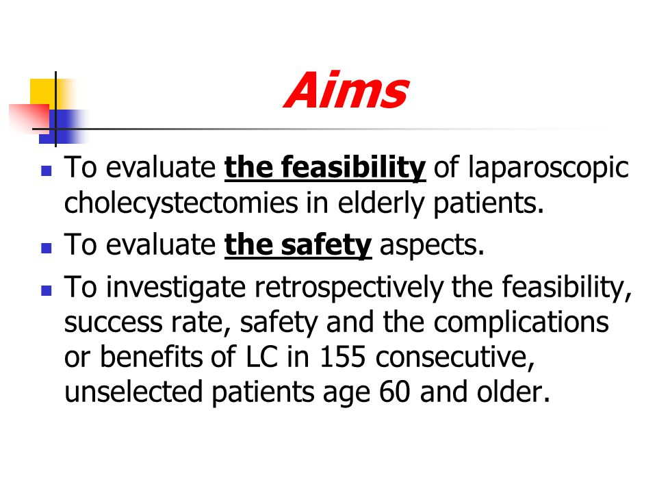 Aims To evaluate the feasibility of laparoscopic cholecystectomies in elderly patients. To evaluate the safety aspects.