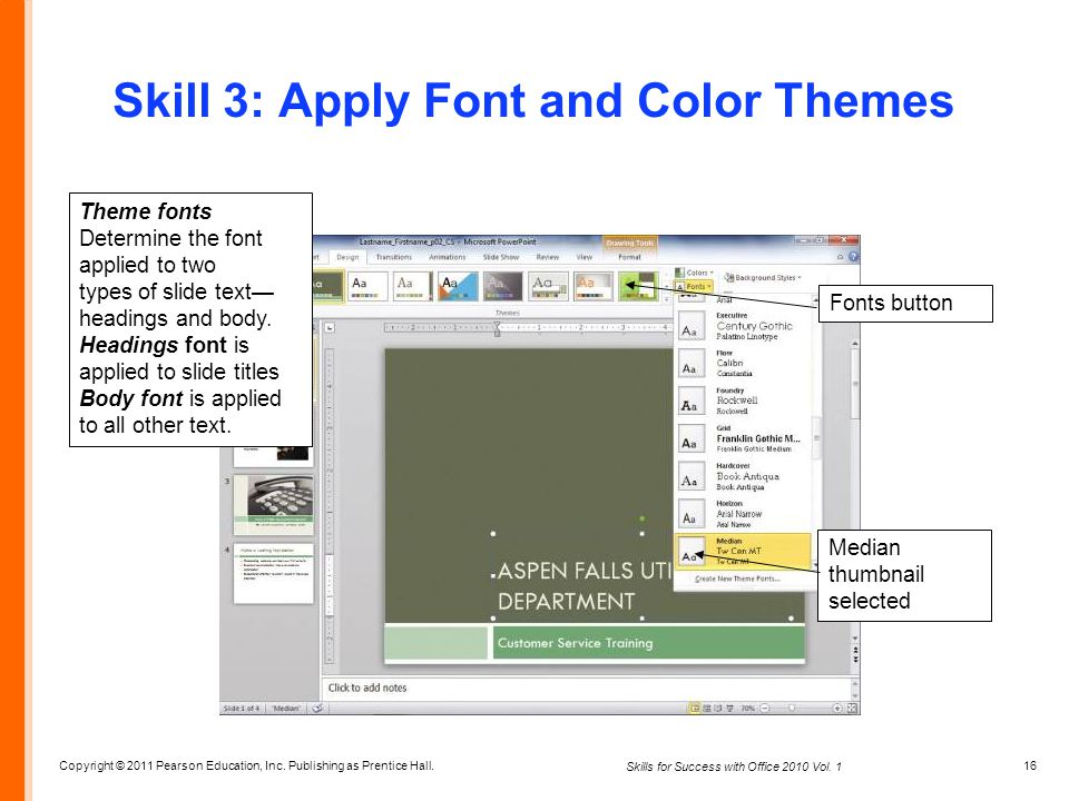 Skill 3: Apply Font and Color Themes
