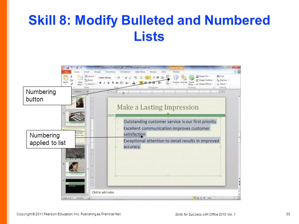 Skill 8: Modify Bulleted and Numbered Lists