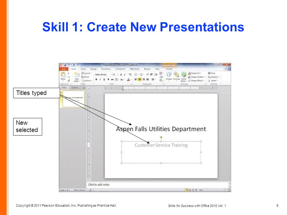Skill 1: Create New Presentations