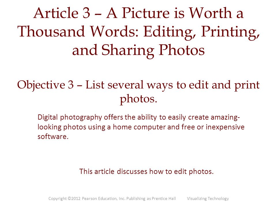 This article discusses how to edit photos.