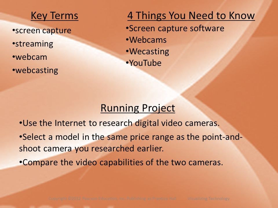 Key Terms screen capture streaming webcam webcasting
