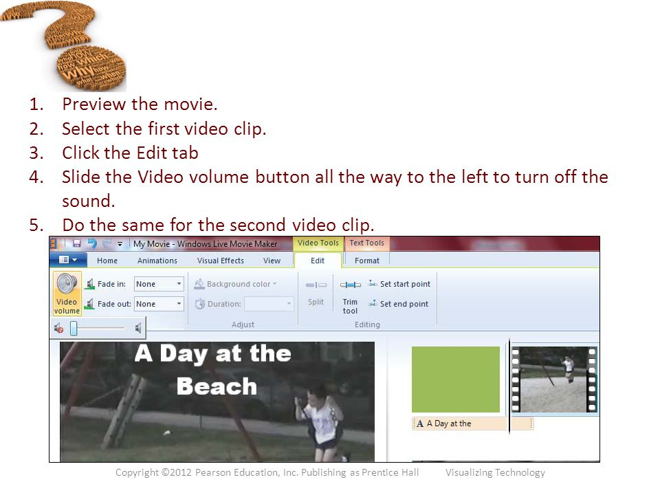 Select the first video clip. Click the Edit tab