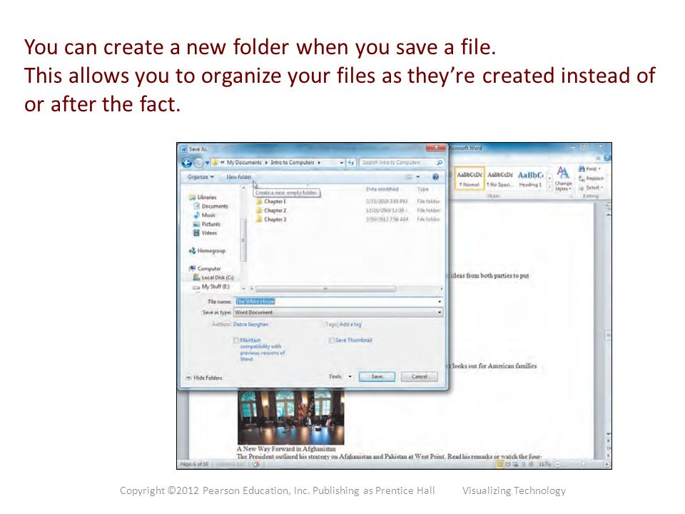 You can create a new folder when you save a file.