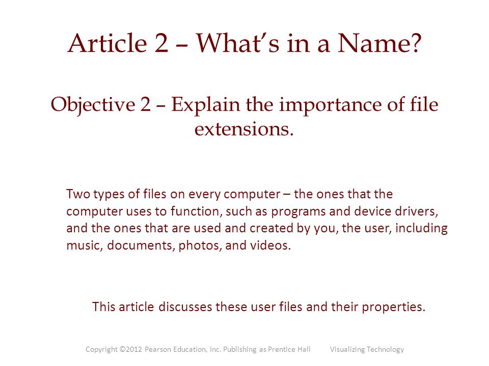 This article discusses these user files and their properties.