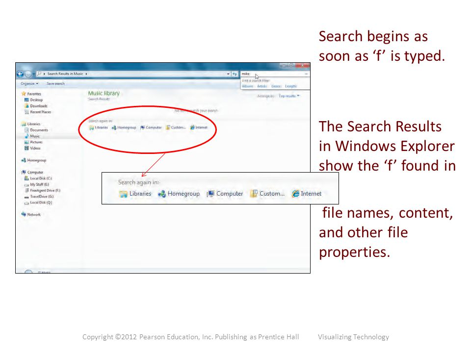 Search begins as soon as 'f' is typed.