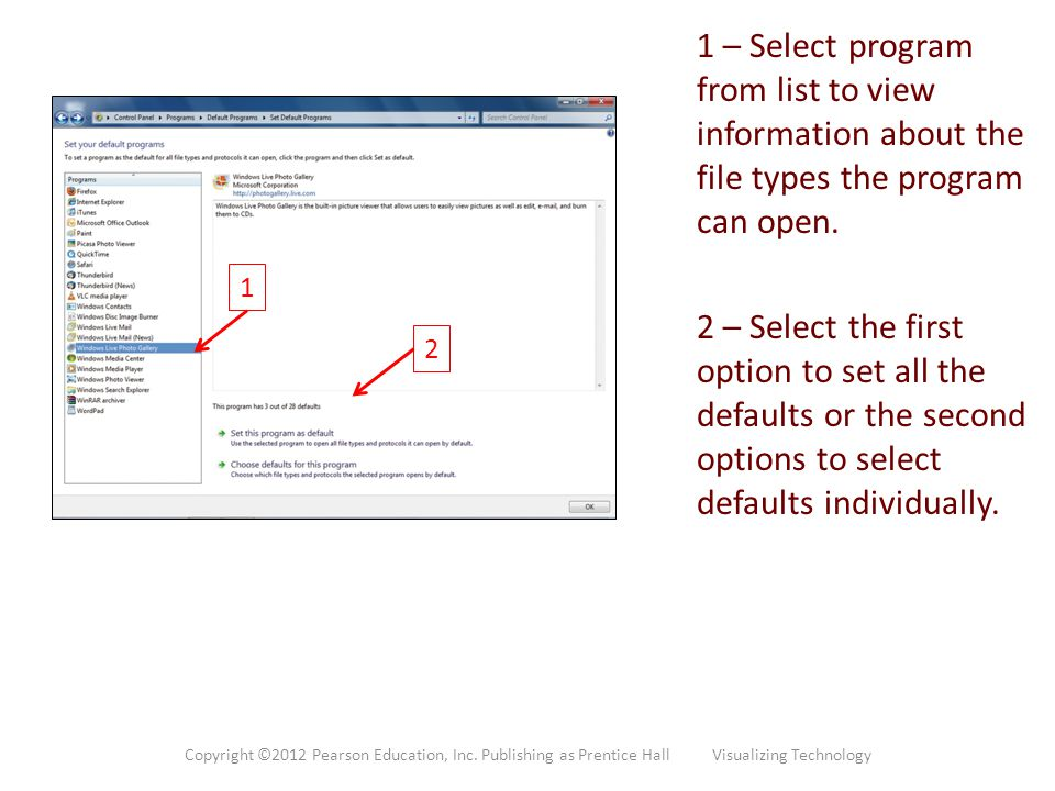 1 – Select program from list to view information about the file types the program can open.