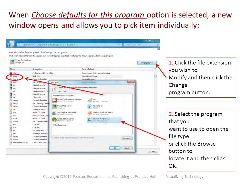 When Choose defaults for this program option is selected, a new window opens and allows you to pick item individually:
